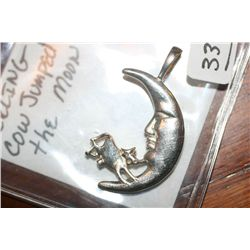 Sterling Cow Jumped Over the Moon Charm