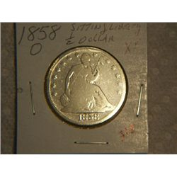 1858-O SITTING LIBERTY 1/2 DOLLAR