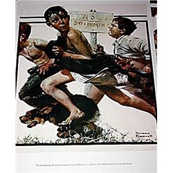 Norman Rockwell Lithograph-No Swimming
