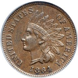 1864 Indian Head 1C. Bronze, with L PCGS AU58 BR