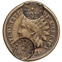 1861 Indian Cent Double Counterstamp. EF