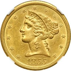1855-D $5 Liberty