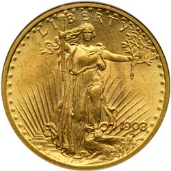 1908 $20 St. Gaudens. No Motto NGC MS64