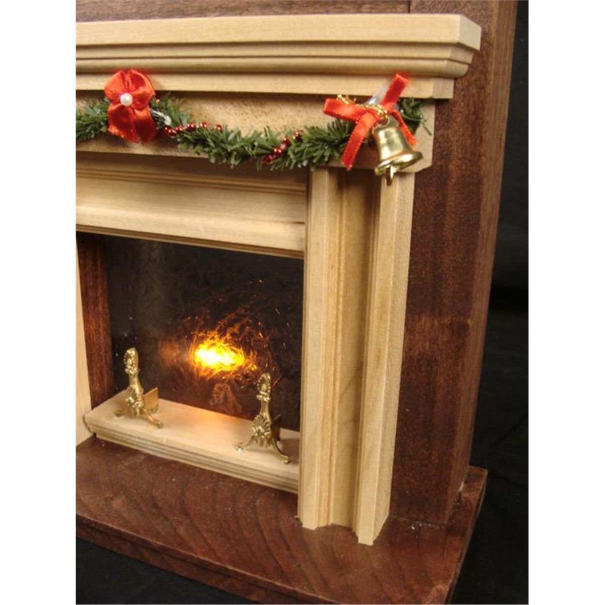 winter fireplace mini lighted display hand made wood