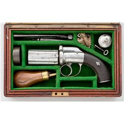 Fine Cased English Pepperbox Pistol