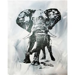 Black White Elephant Canvas POP Art Original RARE SALE