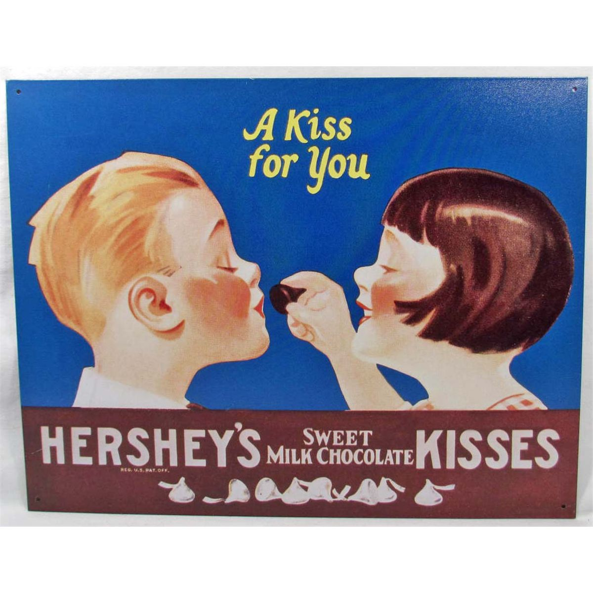 "2694 - 16""x12"" - HERSHEY'S SWEET MILK CHOCOLATE KISSES - METAL ADVERTISING  SIGN"