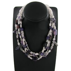950twc Rose Quartz Amethyst Necklace (JEW-3663)