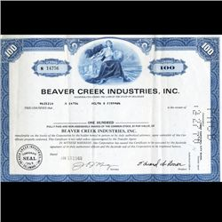 1960s Beaver Creek Stock Certificate Scarce (CUR-06397)