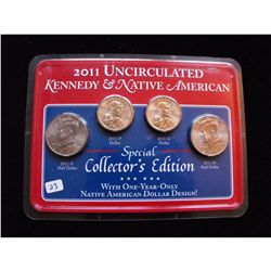 2011 UNC KENNEDY NATIVE AMERICAN SET, 4 COINS