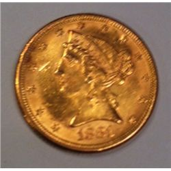 1882 $5 Gold Liberty Coin