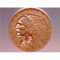 1915 $21/2 Gold Indian AU50 Cleaned ANACS