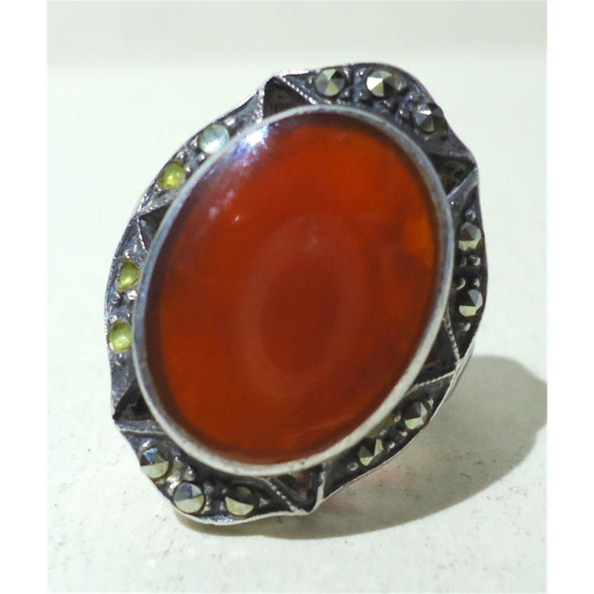 Silver Red Granite : Womens silver ring w red stone