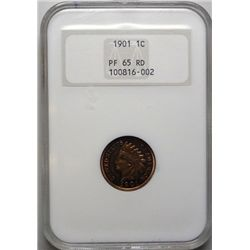 1901 INDIAN CENT NGC PROOF 65 RED