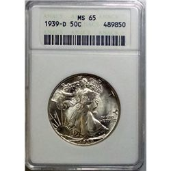 1939-D WALKING LIBERTY HALF DOLLAR ANACS MS-65