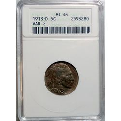1913-D T-2 BUFFALO NICKEL ANACS MS-64 NICE COLOR!!