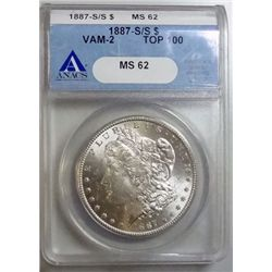1887-S/S MORGAN DOLLAR VAM 2 TOP 100 ANACS MS-62