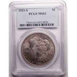 1921 S MORGAN DOLLAR PCGS MS63