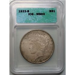 1922-S PEACE DOLLAR ICG MS-63 COLOR!