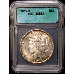 1923-D PEACE SILVER DOLLAR, ICG MS 64 NICE!