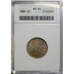 1889 LIBERTY NICKEL ANACS MS-64 LOOKS 65!