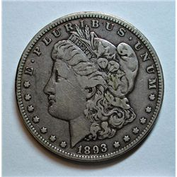 1893 MORGAN DOLLAR VERY FINE - CLEANED