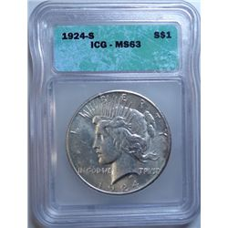 1924-S PEACE DOLLAR ICG MS-63