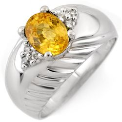 Genuine 1.65 ctw Yellow Sapphire & Diamond Ring 10K White Gold