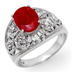 Genuine 3.07 ctw Ruby & Diamond Ring 14K White Gold