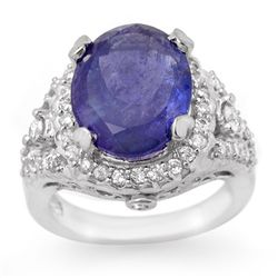 Genuine 8.15ct Tanzanite & Diamond Ring 14K White Gold