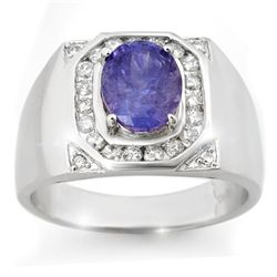 Genuine 3.1 ctw Tanzanite & Diamond Men's Ring 14K Gold