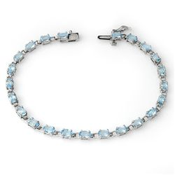 Genuine 8.08 ctw Blue Topaz Bracelet 10K White Gold