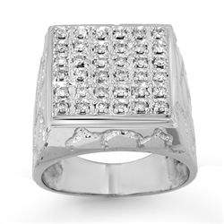 Natural 1.0 ctw Diamond Men's Ring 14K White Gold
