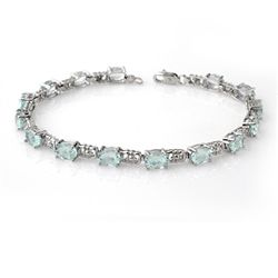 Genuine 8.0 ctw Aquamarine Bracelet 10K White Gold