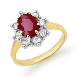 Genuine 2.35 ctw Ruby & Diamond Ring 14K Yellow Gold
