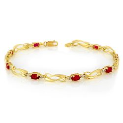 Genuine 2.62 ctw Ruby & Diamond Bracelet Yellow Gold