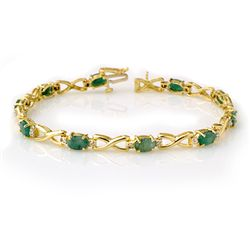Genuine 5.85 ctw Emerald & Diamond Bracelet Yellow Gold