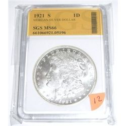 1921-S Morgan Silver Dollar *RARE CERTIFIED MS-66 by SGS*!! Serial # 661066921.05196.