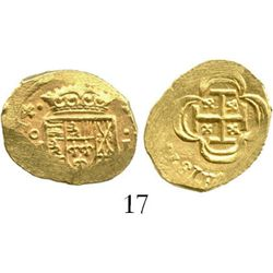 Mexico City, Mexico, cob 1 escudo, (17)14(J), from the 1715 Fleet. S-M30; KM-51.2; CT-510. 3.3 grams