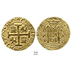 Lima, Peru, cob 8 escudos, 1712M, from the 1715 Fleet. S-L28; KM-38.2; CT-23. 26.9 grams. Choice bol