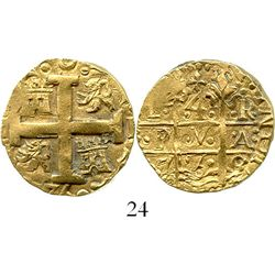 "Lima, Peru, cob 4 escudos, 1750R, denomination ""8,"" from the Luz (1752). S-L31; KM-A47; CT-93. 13.6"