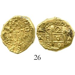 Cuzco, Peru, cob 2 escudos, 1698M, from the 1715 Fleet. S-CZ1; KM-28; CT-122. 6.7 grams. Small, oval