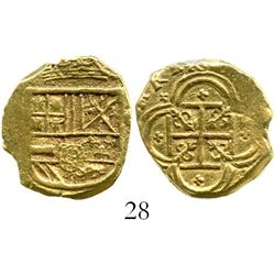 Cartagena, Colombia, cob 2 escudos, (1632-33E). S-C7; KM-4.6. 6.7 grams. Bold full shield and cross,