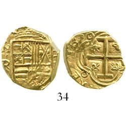 Bogota, Colombia, cob 2 escudos, 1651R, from the Maravillas (1656). S-B21; KM-4.1; CT-172. 6.7 grams