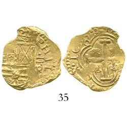 Bogota, Colombia, cob 2 escudos, 165E5R, from the Maravillas (1656). S-B21; KM-4.1; CT-unlisted. 6.7