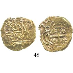 Bogota, Colombia, cob 2 escudos, 1712 (full date), from the 1715 Fleet. S-B24; KM-14.2; CT-15. 6.8 g