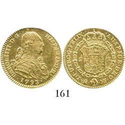 Madrid, Spain, bust 2 escudos, Charles IV, 1793MF. CT-326; KM-435.1. 6.8 grams. Lustrous Mint State