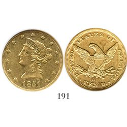 USA (New Orleans mint), $10 coronet (eagle), 1851-O, encapsulated NGC AU 55. KM-66.2.  Lustrous and