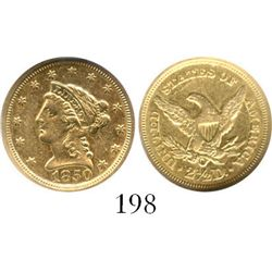 USA (New Orleans mint), $2.5 coronet (quarter eagle), 1850-O, encapsulated NGC AU 55. KM-72.  Bold o