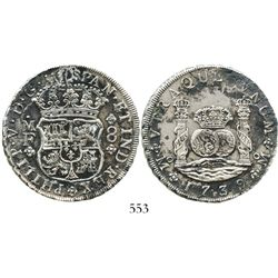 Mexico City, Mexico, pillar 8 reales, Philip V, 1739MF. KM-103; CT-787. 26.2 grams. Choice AU detail